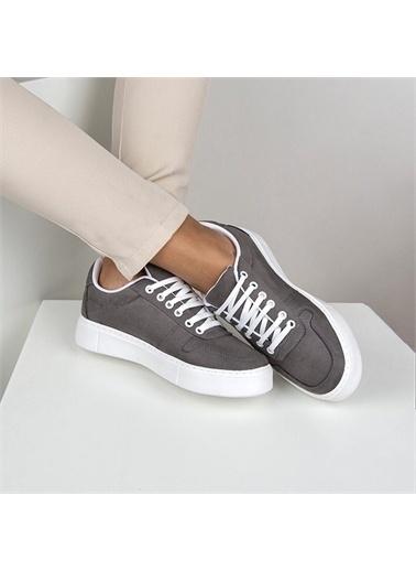 OKHU SHOES Kadın Süet Bağcıklı Günlük Sneaker Spor Ayakkabı Gri